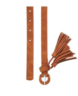 Tan Tassel Skinny Belt  | New Look