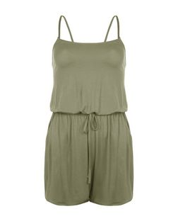 Khaki Strappy Playsuit | New Look