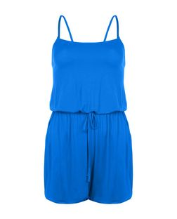 Blue Strappy Playsuit  | New Look