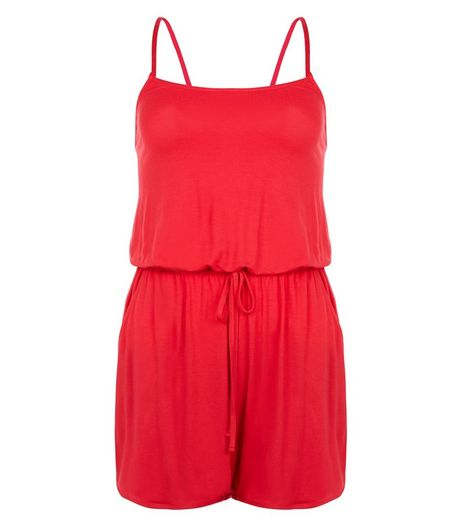 Red Strappy Playsuit  | New Look