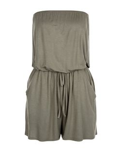 Khaki Bandeau Tie Waist Playsuit  | New Look
