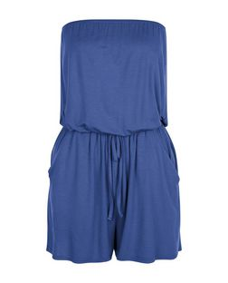 Blue Bandeau Tie Waist Playsuit  | New Look