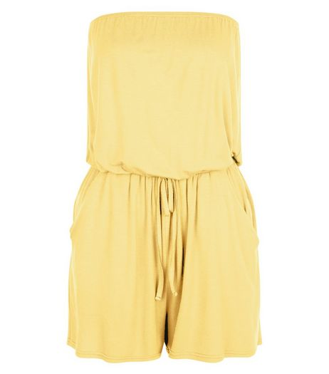 Light Yellow Bandeau Tie Waist Playsuit  | New Look