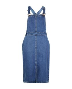 Blue Denim Midi Pinafore Dress  | New Look