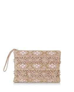 Pink Beaded 3D Flower Clutch | New Look