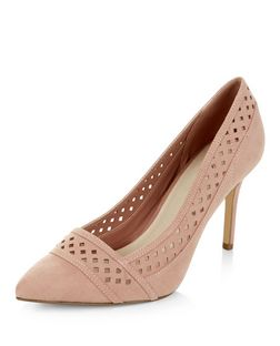 Stone Comfort Suedette Perforated Trim Pointed Heels  | New Look