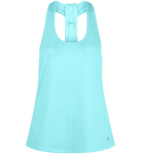 Turquoise Jacquard Stripe Sports Vest  | New Look