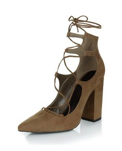 Khaki Suedette Pointed Ghillie Block Heels  | New Look