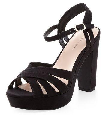 Sandalo  donna Black Suedette Cross Strap Platform Heels