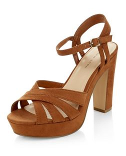 Tan Suedette Cross Strap Platform Heels  | New Look