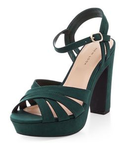 Jade Green Suedette Cross Strap Platform Heels  | New Look