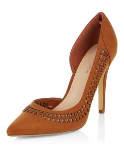 Tan Suedette Woven Trim Pointed Heels  | New Look