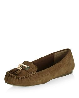 Wide Fit Tan Suede Tassel Moccasins | New Look