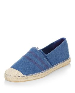Blue Canvas Fray Trim Espadrilles  | New Look