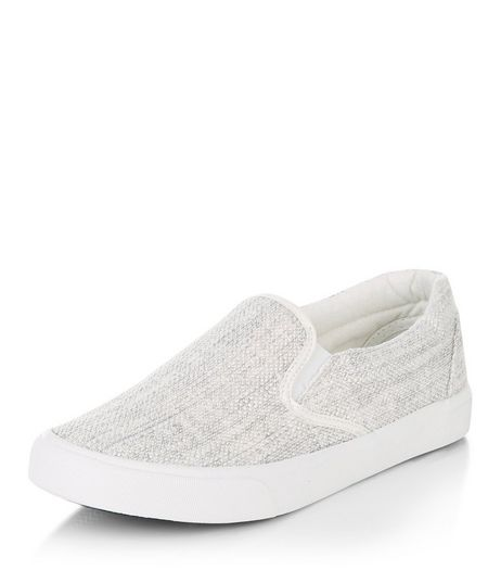 Grey Canvas Slip On Plimsolls  | New Look