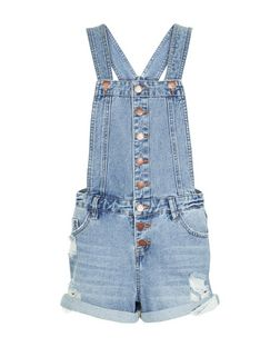 Blue Denim Button Front Short Dungarees  | New Look