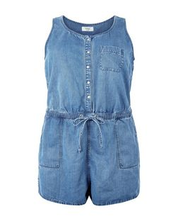 Curves Blue Denim Button Front Playsuit | New Look