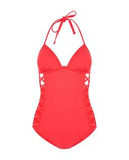 Red Lattice Side Swimsuit  | New Look