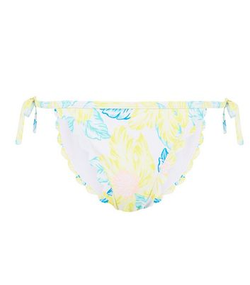 Yellow Tropical Print Scallop Hem Bikini Bottoms
