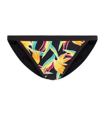 Black Tropical Print Bikini Bottoms