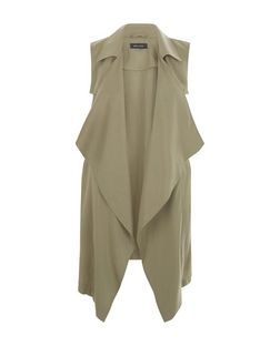 Khaki D-Ring Side Sleeveless Jacket  | New Look