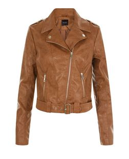 Tan Leather-Look Belted Biker Jacket  | New Look
