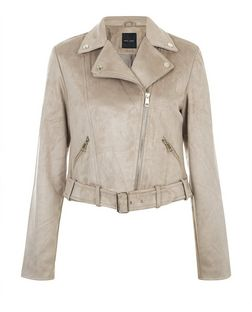 Stone Suedette Biker Jacket  | New Look
