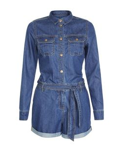 Blue Denim Double Pocket Tie Waist Utility Playsuit  | New Look