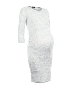 Maternity Grey Fine Knit 3/4 Sleeve Dress | New Look