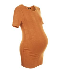 Maternity Tan Ribbed Short Sleeve Top | New Look