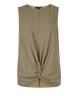 Khaki Twist Front Sleeveless Top  | New Look