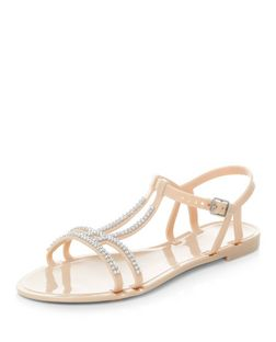 Teens Stone Diamante Jelly Sandals | New Look