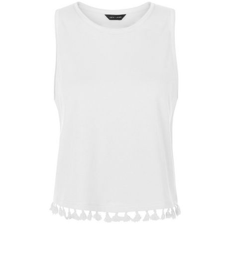 White Tassel Trim Sleeveless Top  | New Look