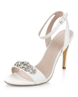 Cream Bridal Satin Embellished Ankle Strap Heels  | New Look