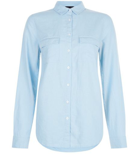 Blue Linen Mix Double Pocket Long Sleeve Shirt | New Look