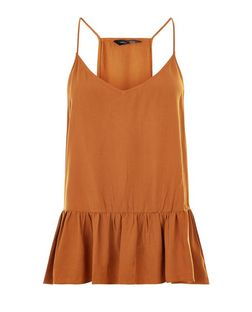 Tan V Neck Peplum Cami | New Look