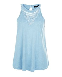 Light Blue Crochet Panel Swing Vest  | New Look