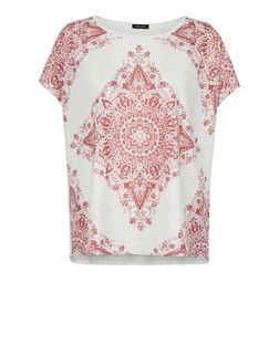 Stone Abstract Print T-Shirt  | New Look