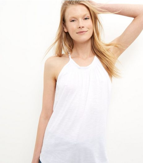 White Shirred High Neck Vest | New Look