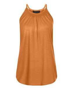 Tan Shirred High Neck Vest | New Look