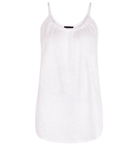 White Plaited Trim Vest  | New Look