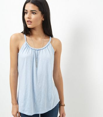 Pale Blue Plaited Trim Vest