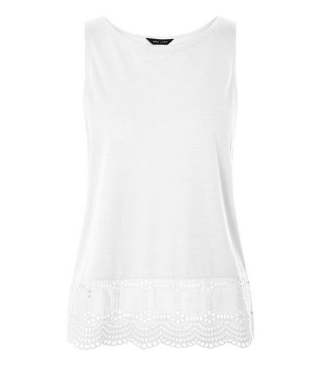 White Broderie Hem Sleeveless Top | New Look