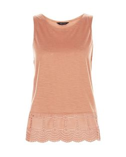 Tan Broderie Hem Sleeveless Top | New Look