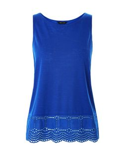 Blue Broderie Hem Sleeveless Top | New Look