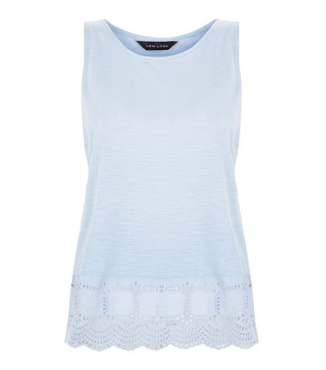 Light Blue Broderie Hem Sleeveless Top | New Look
