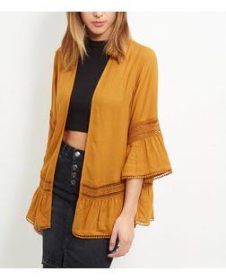 Rust Crochet Trim Flutter Sleeve Kimono  | New Look