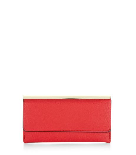 Red Metal Bar Purse  | New Look