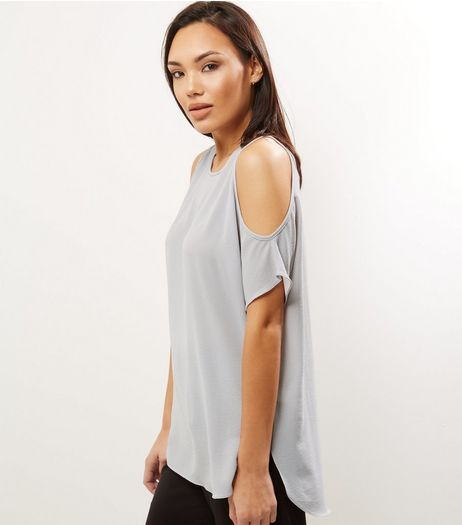 Pale Grey Cold Shoulder Short Sleeve T-Shirt  | New Look
