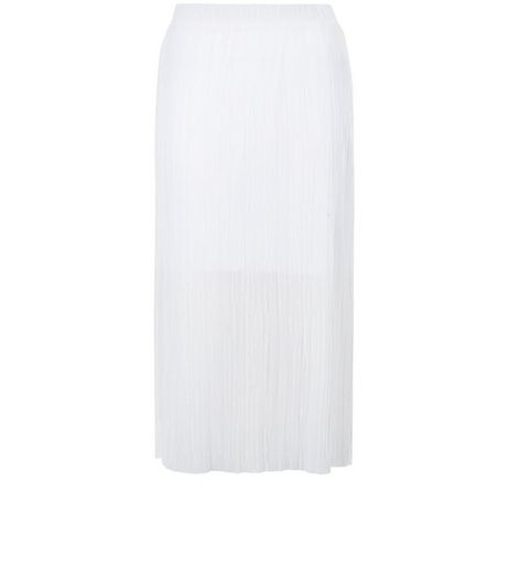 White Pleated Midi Skirt  | New Look